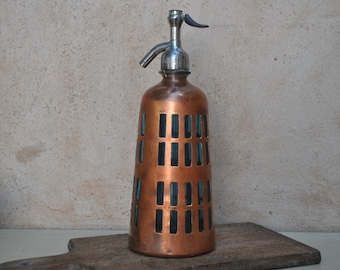 Vintage French Turquoise Siphon Seltzer Bottle with Metal Covering - Art Deco Style