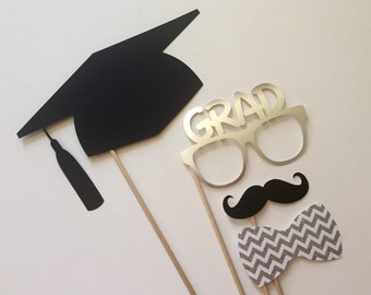 Graduation Photo Booth Props . 2016 Graduation Photo Booth Props . Graduation . Class of 2016 . Glitter and Metallic . Silver . Set of 4