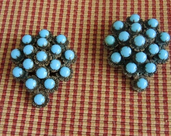 Turquoise Dress Clips Set Of 2 Vintage Dress Clips Repurposing Or Jewelry Making