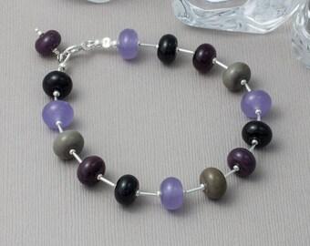 Purple and Silver Lampwork Bracelet