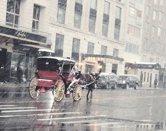 New York Photograph - Snowy Winter - Central Park Horse Carriage - Urban Art Decor - Architecture - New York City - Romantic Scene
