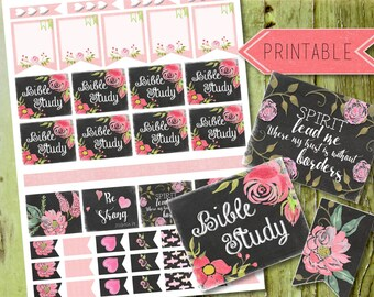 Elegant Chalk Bible Study Printable Stickers for Erin Condren Life Planner/Happy Planner INSTANT DOWNLOAD