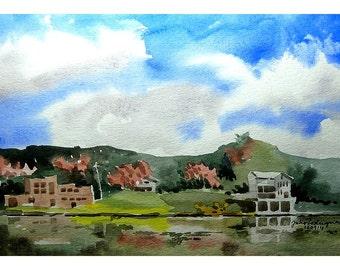 Original Watercolor, Seneca Lake, NY