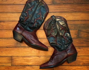 Vintage Dingo Black and burgundy Cutout Leather Country Western Cowboy Boots Women's 6