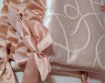 UPGRADE ONLY: crib bumper trim only, Ruffle Trim of Faux Dupioni Silk fabric