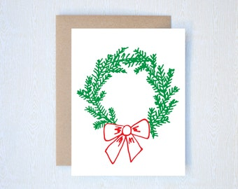 Wreath Christmas Holiday Card Letterpress Printed Handlettered Calligraphy Handlettering
