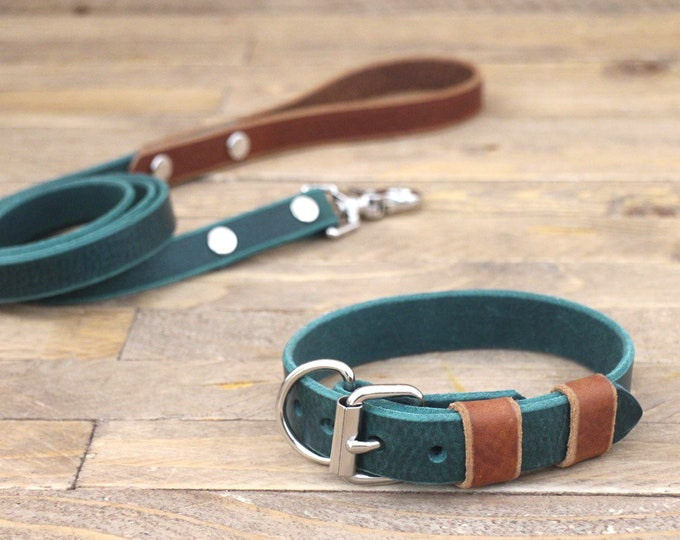 Free personalisation, Collar and leash set, Leather leash, Silver hardware, Forest, Cowboy brown, Handmade collar and leash.