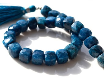 Blue Chrysocolla 8mm Cube Beads  2