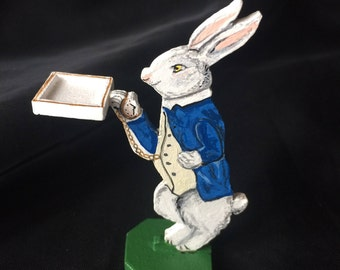 White Rabbit with Gold Watch Dumbwaiter (dolls house)
