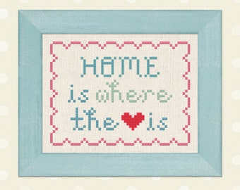 Home is Where the Heart is Cross Stitch Pattern, Text Modern Simple Cute Counted Cross Stitch Pattern PDF File. Instant Download