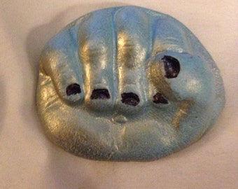 hand fist polymer clay face cabochon finding art doll parts jewelry or altered arts