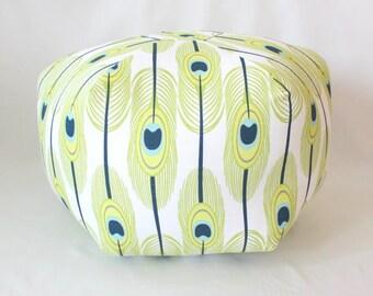 Feathers Floor Pouf / Green or Blue / Foot Stool / Floor Pillow / Ottoman / Floor Cushion / Fabric Stool / Dorm Decor