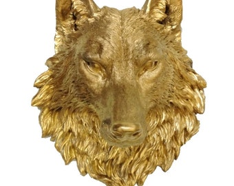 Gold Wolf Head Mount Wall Statue. Faux Taxidermy Fake Wolf Head.