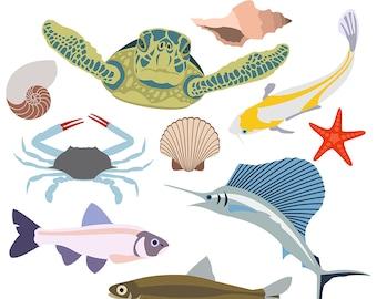 Sea Life Clipart, Beach Clipart, Fish Clipart, Sea Turtle Clipart, Seashell Clipart, Ocean Clipart, Crab Clipart, Digital Download