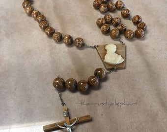 "Large Vintage Wooden Prayer Beads - 53"" Long!"