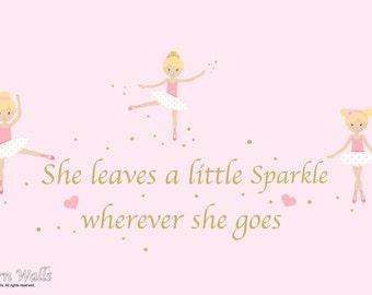 Nursery Wall Decals-Ballerina Girls Sparkle Quote-Girls Nursery Wall Decals-Reusable Decals-Wall Stickers-Sparkle Quote