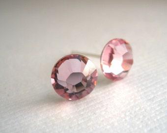 Pink Stud Earrings, Pink Earrings, Soft Pink, Crystal Earrings Swarovski Crystal, Light Rose, Wedding, Bridesmaid Earrings, Bridesmaid Gift