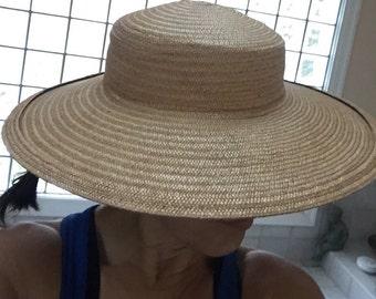 Wide Brimmed Hat, Antique Elegant 1940s Natural Straw Wide Brim Hat, Movie Star Statement Hat