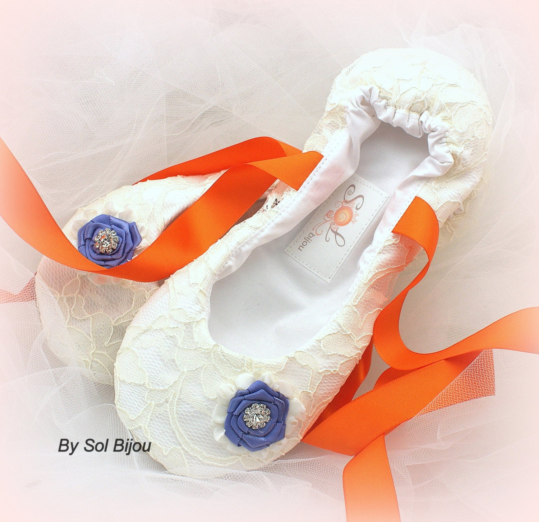 Ballerines, Ivoire, Orange, Pervenche, bleu, mariée, chaussures, de apparteHommes ts, fille de chaussures, fleur, ballerines, dentelle, cristaux, mariage élégant 945927