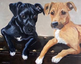 "Large Custom Pet Portraits, Oil Painting by me, etsy artist Robin Zebley, Custom Portrait 18"" x 24"" Gift Certificate"