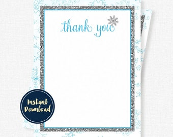 Snowflake Thank You Cards, Silver and Blue Thank You Note, Wonderland Birthday Thank You, Blank Thank You, Printable INSTANT DOWNLOAD