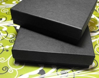 Mothers Day Sale 100 Pack 3.5 X 3.5 X 1 Inch Matte Black Size Cotton Filled Jewelry Presentation Gift Boxes
