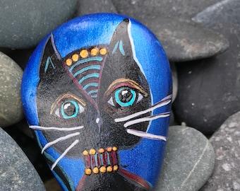 Painted Rock, Cat Painting, Painted Stone