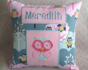 Personalised owl cushion cover