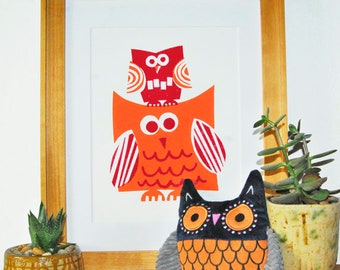 Big & Little Owl Print