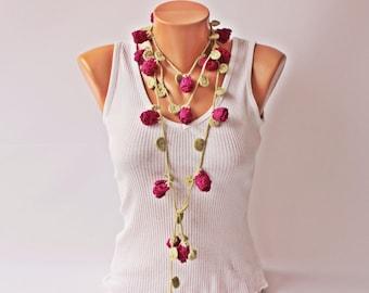 CROCHET lariat necklace jewelry  -Crochet flower lariat  necklace jewelry/crochet pendant / crochet necklace