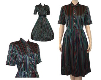Earn Your Stripes Vintage 1960's Satin Day Dress Small