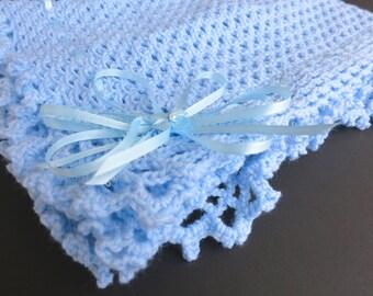 Blue Hand Knit Crochet Afghan Baby Blanket