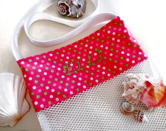 Personalized Mesh Shell Collecting and Toy Beach or Pool Tote Bag, Embroidered Name, Pink Polka Dot Mesh Bag, Personalized Gift For Girls