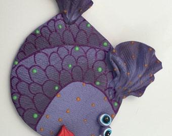 Fish wall decor,Ceramic Blowfish, Ocean decor, Sea creature, Under the sea, Beach theme,rainbow