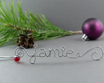 Wire Name Christmas Ornament Hangers - Wire Christmas Ornament Hooks - Handmade Christmas Tree Decoration Hanger