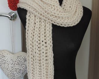 Hand Knit Chunky Cream Scarf with Red Pom Poms