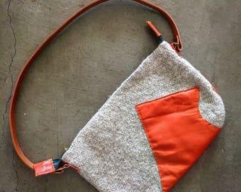 Wool and Leather Crochet Shoulder Bag