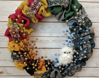 MADE TO ORDER: Harry Potter Themed Owl Wreath - Four House Colors