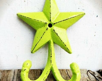 BOLD lime green star double wall hook // country rustic home decor // coat towel key hooks // shabby chic western // nautical beach