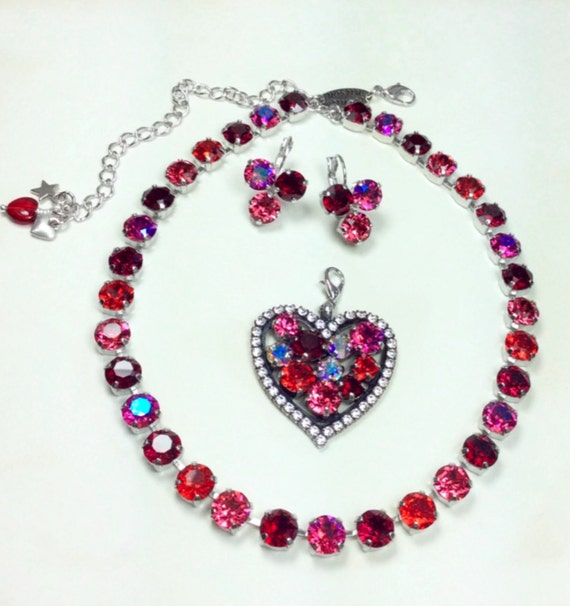 """Swarovski Crystal 8.5mm Necklace & Heart - Vibrant and Romantic  """"Valentine's Day Reds""""  - Designer Inspired - FREE SHIPPING"""