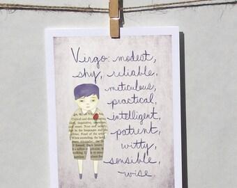 Virgo boy card Astrology card Zodiac card Astrological sign card