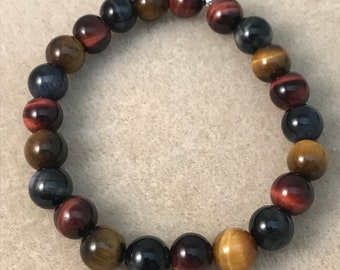 Multicolor Tigerseye 8mm Round Bead Stretch Bracelet with Sterling Silver Accent - Golden Brown, Blue & Red