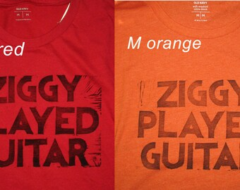 Men's Ziggy Stardust lyrics crew neck shirt, hand-printed block David Bowie