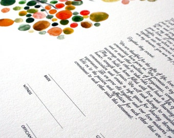 Ketubah Print Tree of Life with Love Birds - Side Layout