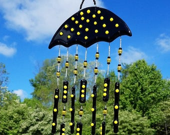 Fused Glass Wind Chimes | Beaded Glass Chime Umbrella Wall Hanging Decor | One of A Kind Birthday Gift for Wife Mom Housewarming Gift