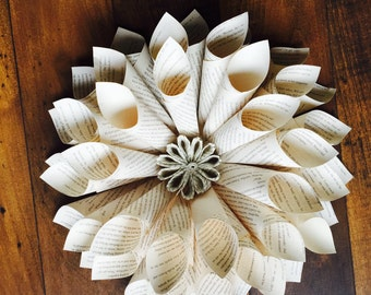Upcycled Book Paper Dahlia