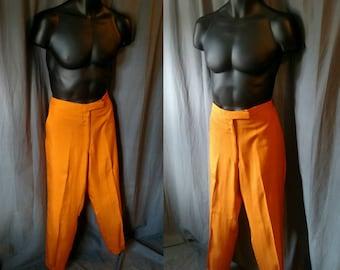 Vintage 1960s Men's Italian Dupioni Silk Flat Front Pants in Orange / 60s Cuffed Orange Slacks from Knox New York  35 Waist