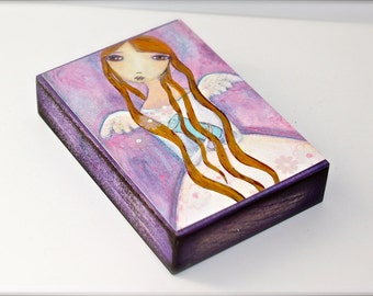Birthday Girl Angel - Aceo Giclee print mounted on Wood (2.5 x 3.5 inches) Folk Art  by FLOR LARIOS