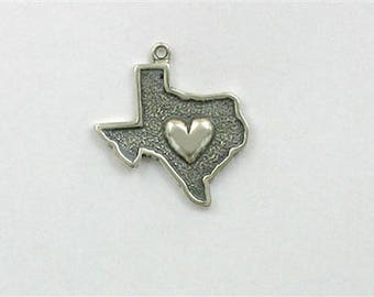Sterling Silver Texas Heart Charm