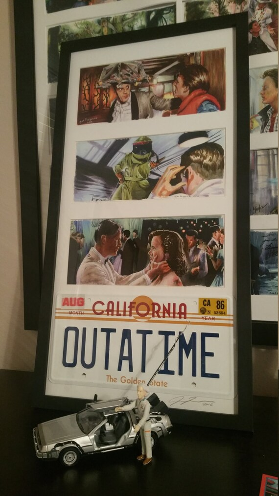 3 Framed Back to the Future prints with License Plate